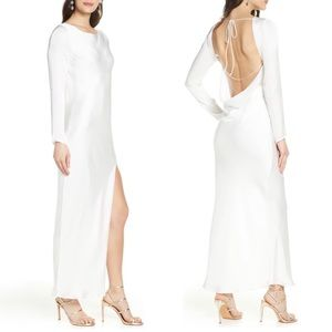 Bardot River Bias Long Sleeve Openback Satin Dress